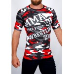 Top compression Rashguard camouflage 'MMA' Rouge - vue face