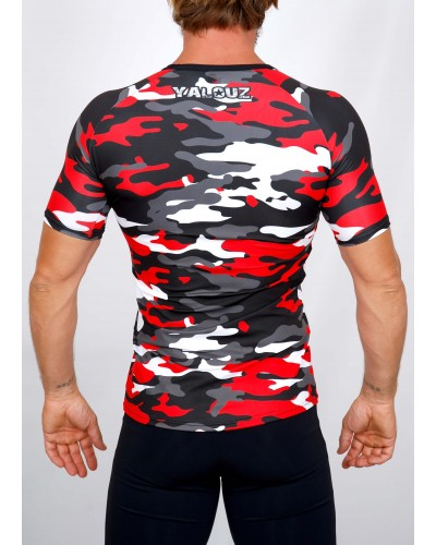 Top compression Rashguard camouflage 'BODY FORCE' Rouge - vue dos