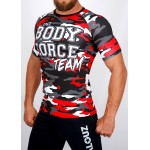 Top compression Rashguard camouflage 'BODY FORCE' Rouge - vue 3/4 face