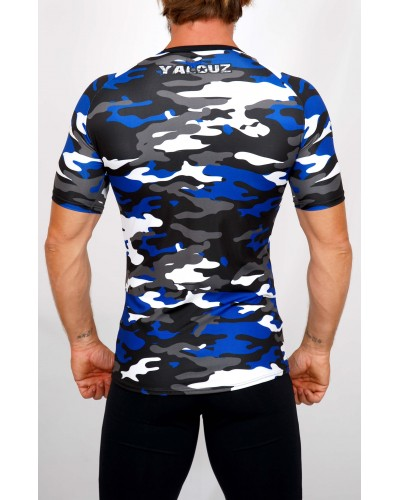 Top compression Rashguard camouflage 'BODY FORCE' Bleu - vue dos