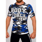 Top compression Rashguard camouflage 'BODY FORCE' Bleu - vue face