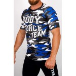 Top compression Rashguard camouflage 'BODY FORCE' Bleu - vue 3/4 face