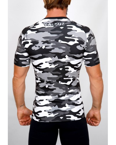 Top compression Rashguard camouflage 'BODY FORCE' Noir&blanc - vue dos