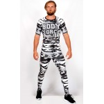 Ensemble top Rashguard + legging compression camouflage 'BODY FORCE' Noir&blanc - vue face
