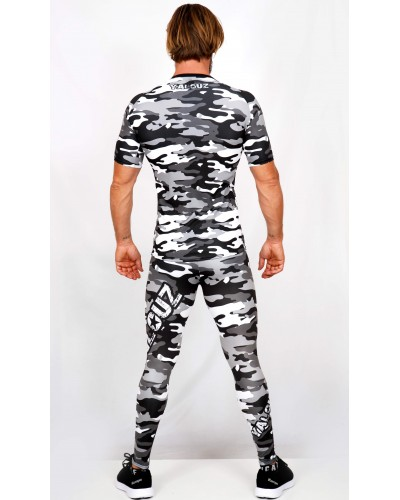 Ensemble top Rashguard + legging compression camouflage 'BODY FORCE' Noir&blanc - vue dos