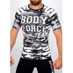 Top compression Rashguard camouflage 'BODY FORCE' Noir&blanc - vue face
