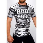 Top compression Rashguard camouflage 'BODY FORCE' Noir&blanc - vue 3/4 face