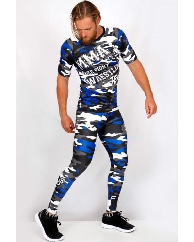 Ensemble top Rashguard + legging compression camouflage 'MMA' Bleu - vue face