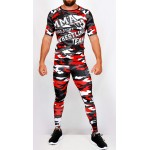 Ensemble top Rashguard + legging compression camouflage 'MMA' Rouge - vue face