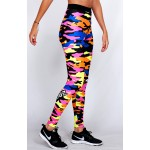 Legging Fuseau Femme Sport 'Camouflage' multicolor - vue 3/4 face
