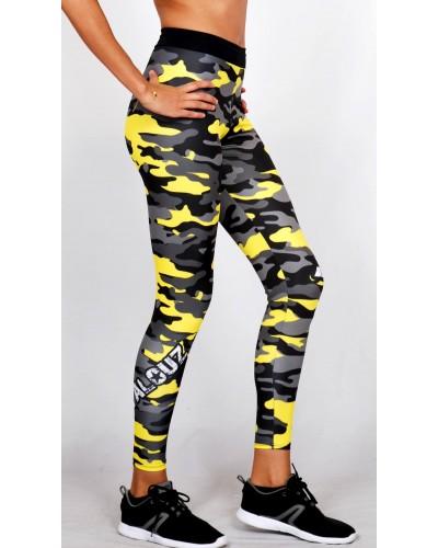 Legging Fuseau Femme Sport 'Camouflage' Jaune/gris - vue 3/4 face