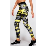 Legging Fuseau Femme Sport 'Camouflage' Jaune/gris - vue cote