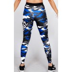 Legging Fuseau Femme Sport 'Camouflage' Bleu/blanc - vue dos