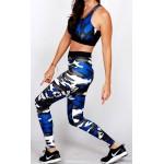 Legging Fuseau Femme Sport 'Camouflage' Bleu/blanc - vue cote