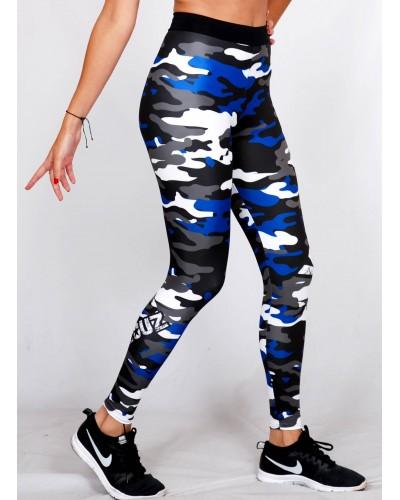 Legging Fuseau Femme Sport 'Camouflage' Bleu/blanc - vue 3/4 face